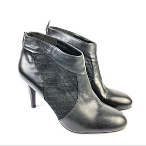 Nine West Leather Mesh Insert Bootie Sz 9 M